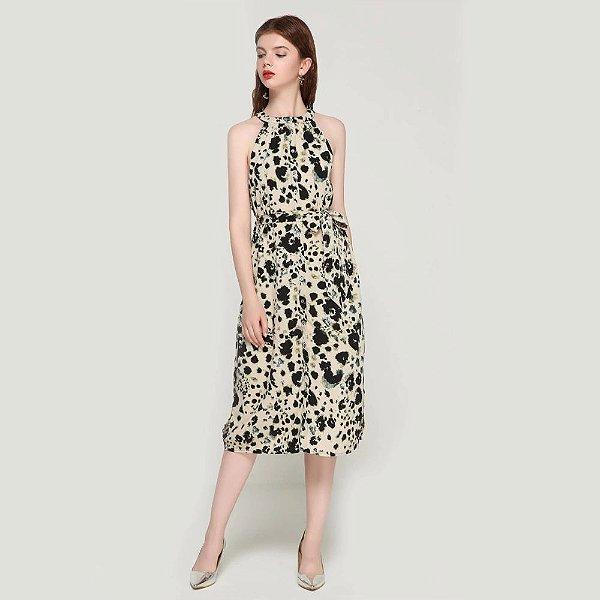 Vestido Gola Alta Leopardo