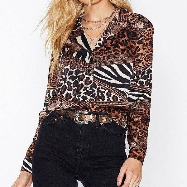 Blusa Botões Leopard - 4 cores