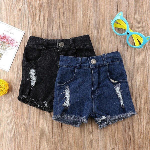 Short Jeans Infantil Desfiado - 2 cores