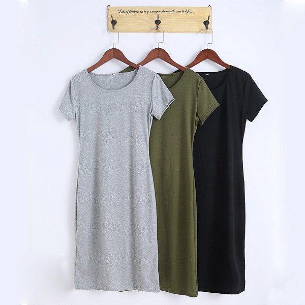 Vestido Midi Liso - 3 cores