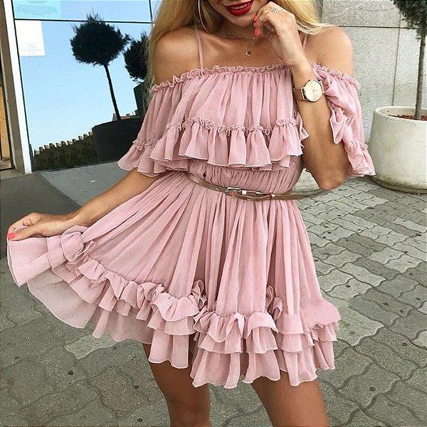 Vestido Babado Plissado - 3 cores