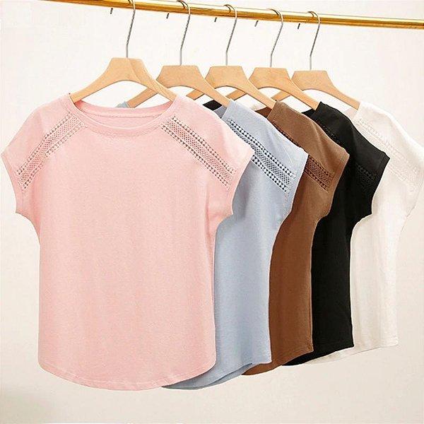 Blusa Detalhe com Renda - 5 cores