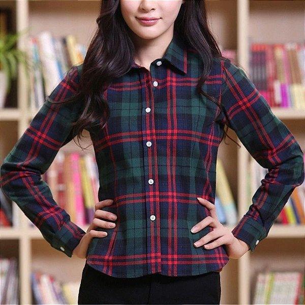Camisa Feminina Xadrez - 4 cores