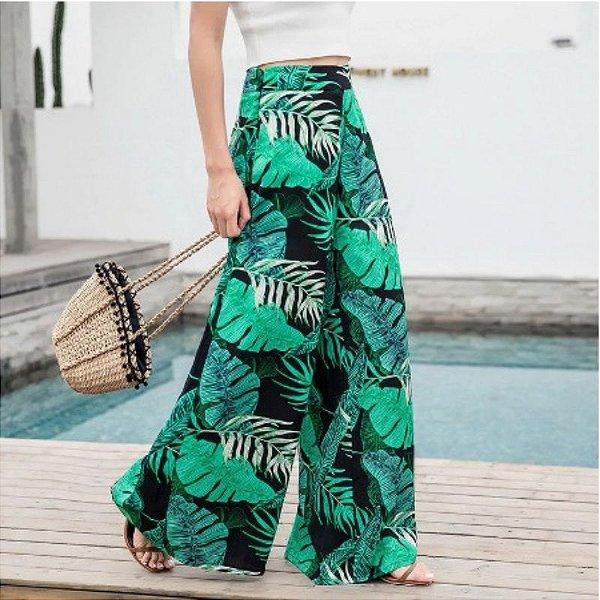 Calça Pantalona Folhas - 3 cores