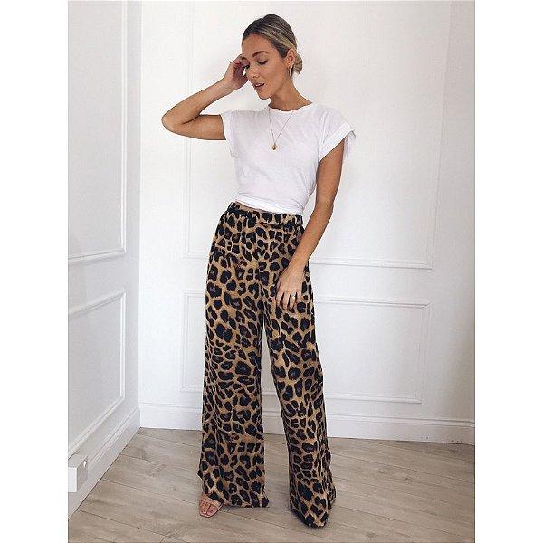 Calça Pantalona Leopardo