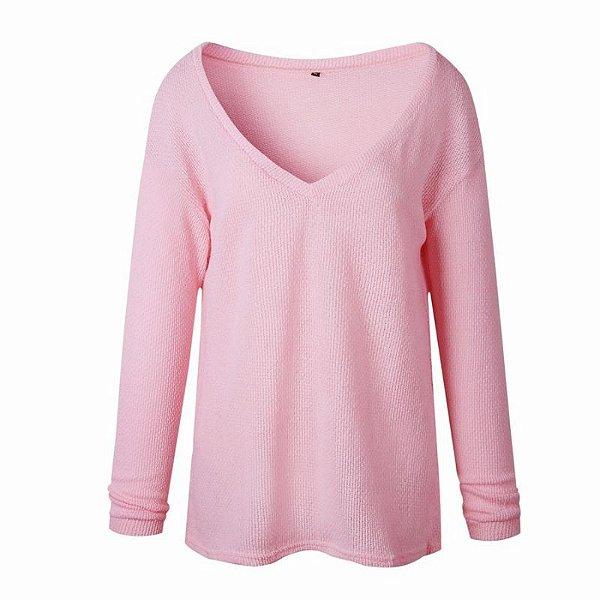 Suéter Decote V - 5 cores