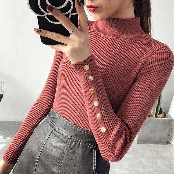 Suéter Detalhes Dourados - 4 cores