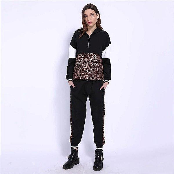 Conjunto Moletom Leopard