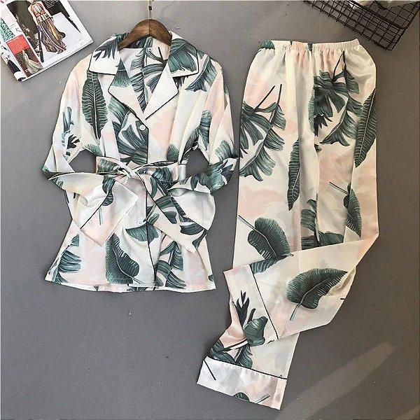 Pijama Folhagens Acetinado - 2 cores