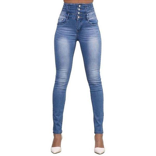 Calça Jeans Alta com Botões - 2 cores