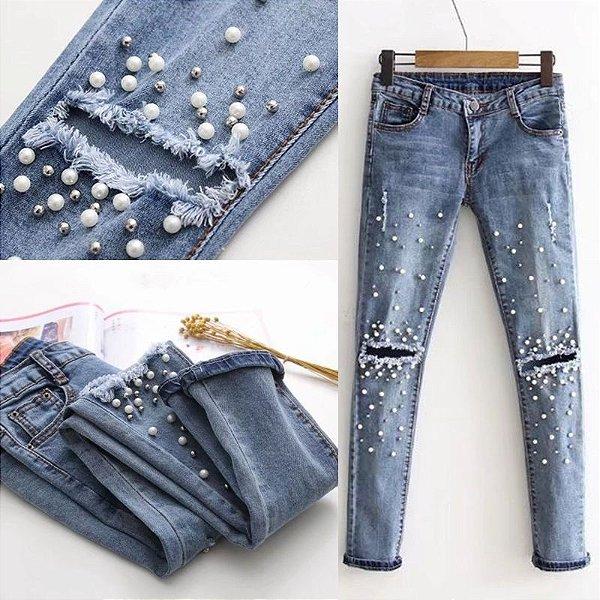 Calça Jeans Destroyed com Pérolas