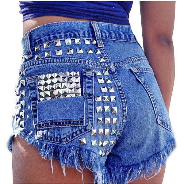 Short Jeans Rebite - 2 cores