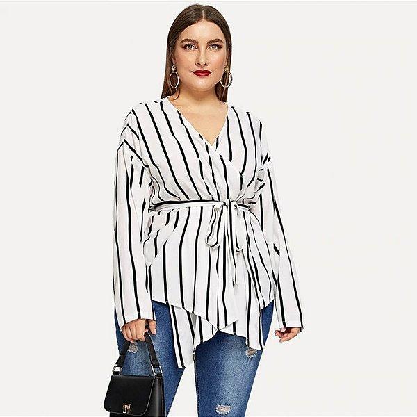 Blusa Listras Transpasse com Amarração Plus Size