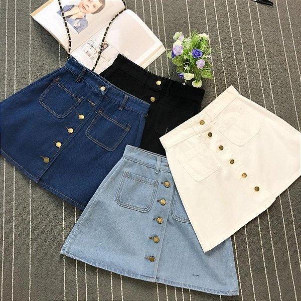 Saia Jeans Botões - 4 cores
