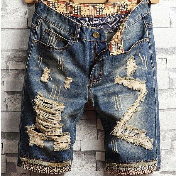 Bermuda Jeans Destroyed Estampas - 3 cores