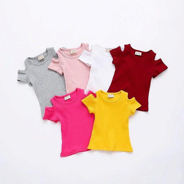Blusa Canelada Manga Curta - 6 cores