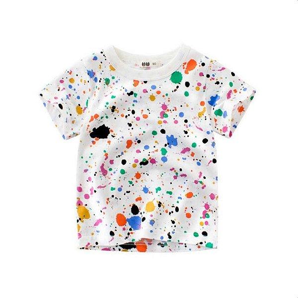 Blusa Estampada Respingos Coloridos