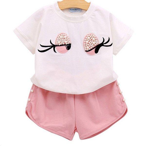 Conjunto Blusa e Short com Olhinhos - 2 cores
