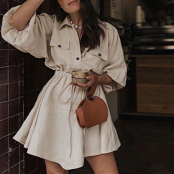 Vestido Rodado com Manga Solta