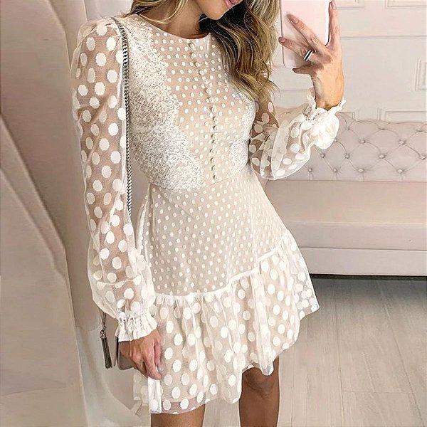 Vestido Renda Poá Off White
