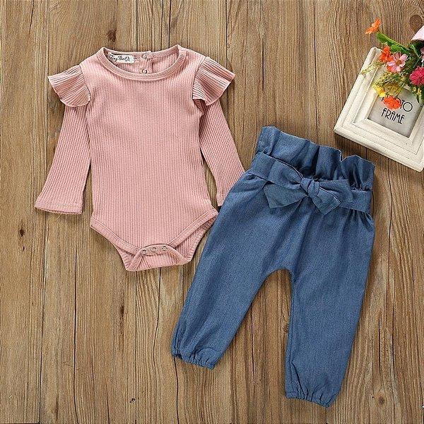 Conjunto Calça e Blusa Canelada Rose