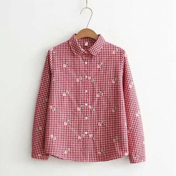 Camisa Vichy Bordada - 3 cores