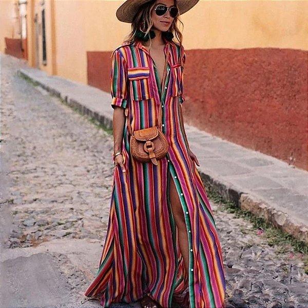 Vestido Longo Listras Coloridas