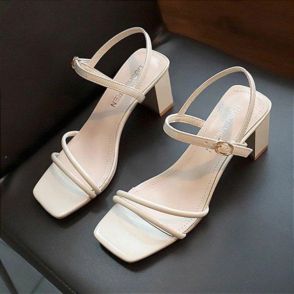 Sandália Tiras Salto Baixo - 3 cores