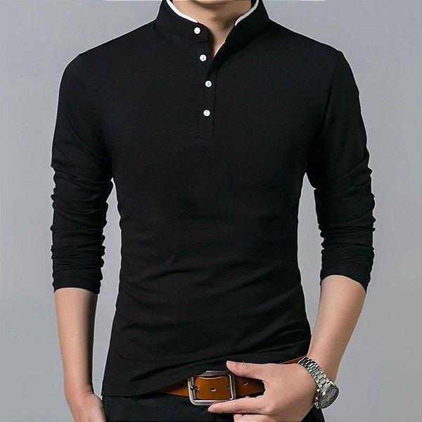 Camiseta Manga Longa Gola Mandarim - 5 cores