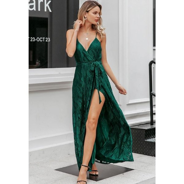 Vestido Verde Longo Rendado