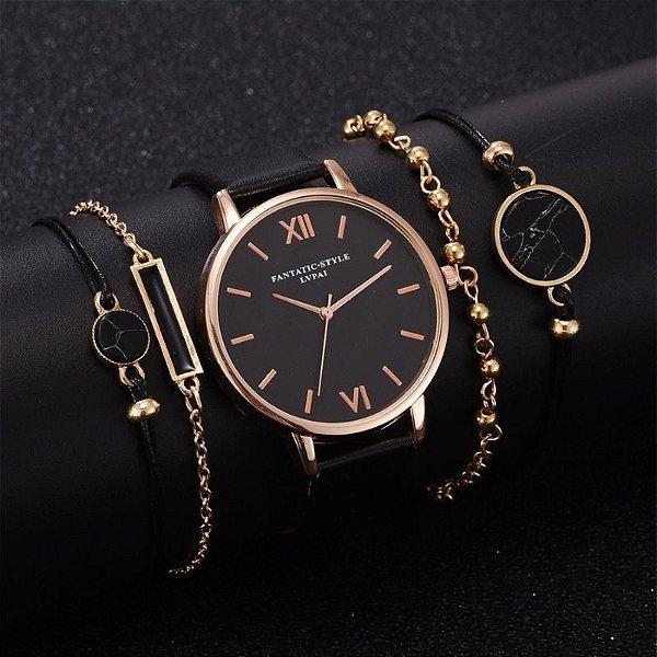 Relógio Black com Pulseiras
