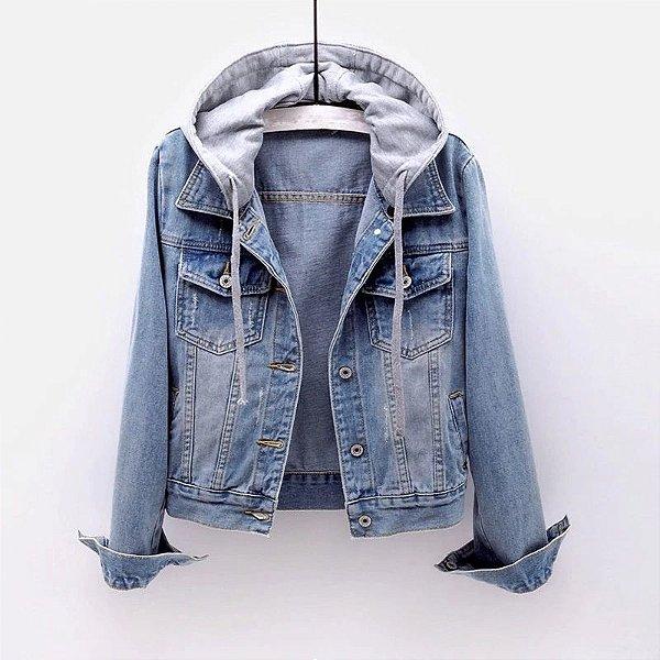 Jaqueta Jeans com Capuz - 2 cores