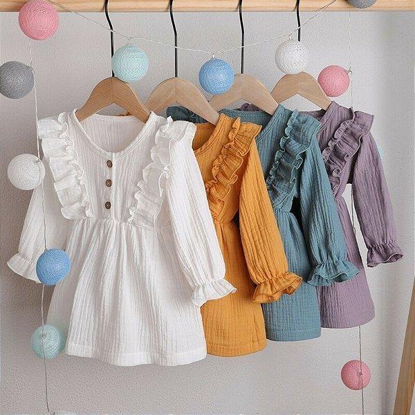 Vestido com Babadinhos - 6 cores