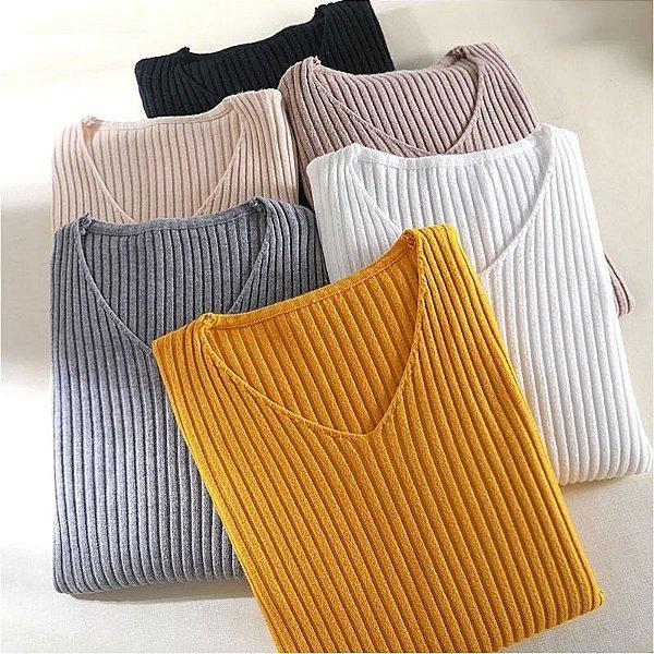 Suéter Canelado Decote - 9 cores