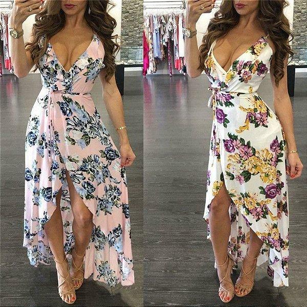 Vestido Floral com Fenda - 2 cores