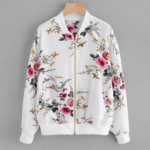 Jaqueta Floral Bomber - 2 cores