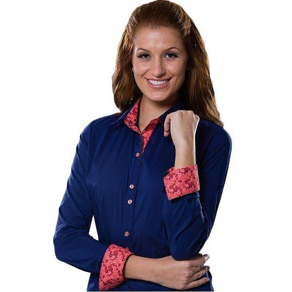 Camisa Social Azul Com Laranja