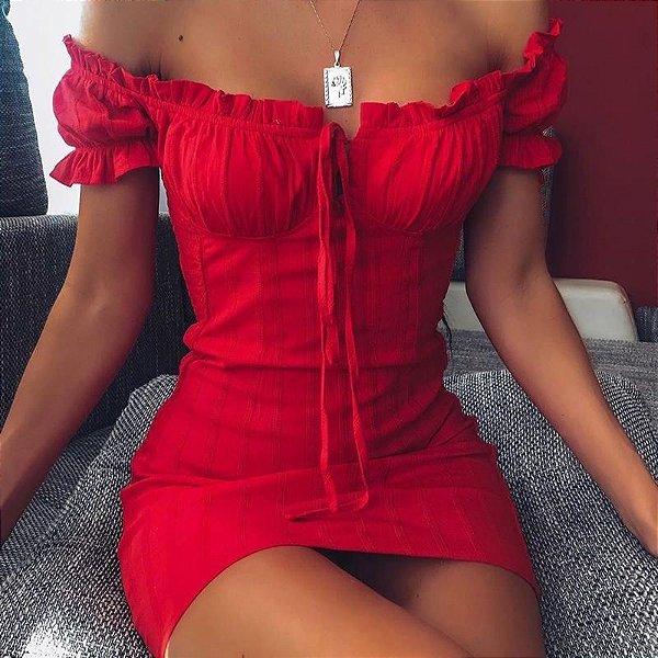 Vestido Off Shoulder Vermelho