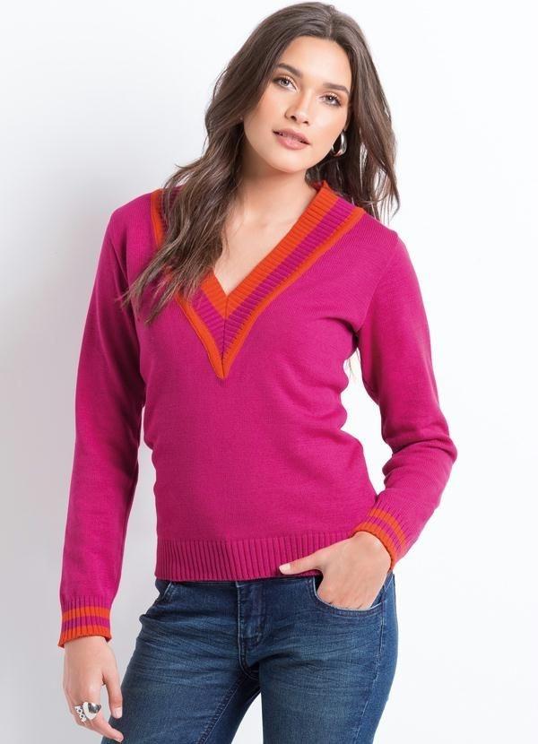 Suéter Bicolor Decote em V Pink e Laranja