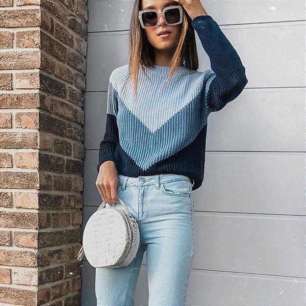 Suéter Colorblock Blue