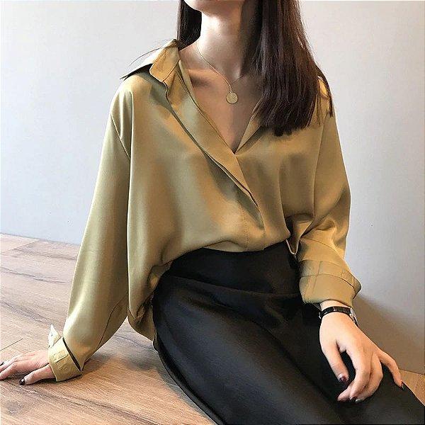 Blusa Cetim Vintage - 3 cores