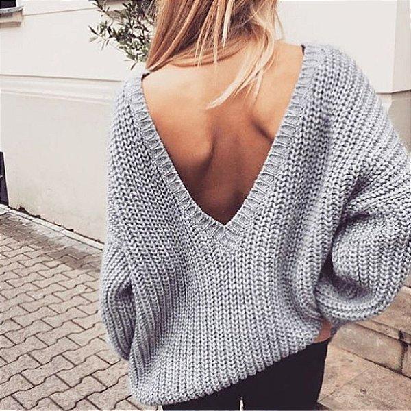 Blusão Suéter Decote V - 7 cores