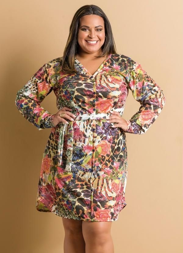 Vestido Manga Longa Mix Estampa Plus Size