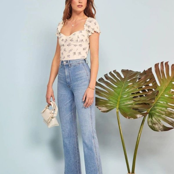 Cropped Bege Floral
