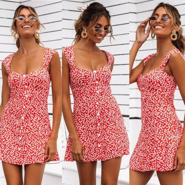 Vestido Curto Floral Vermelho