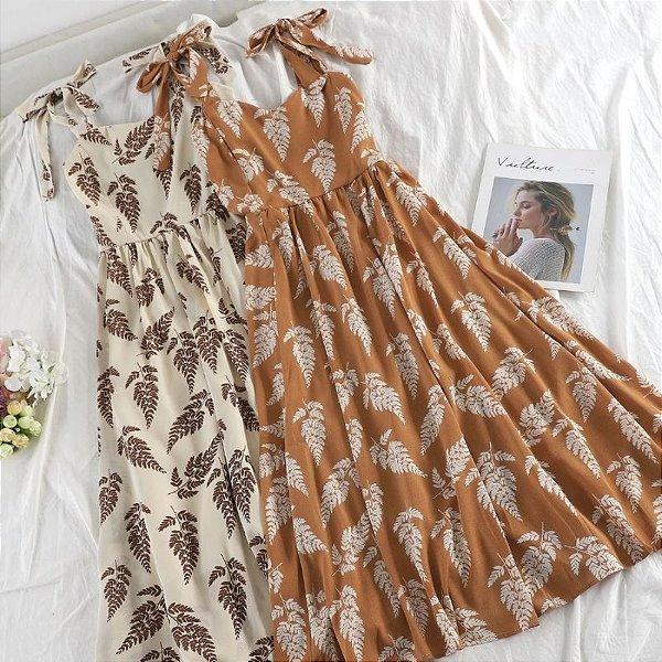Vestido Midi Folhas - 4 cores