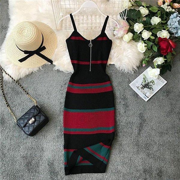 Vestido Faixas com Zíper - 3 cores