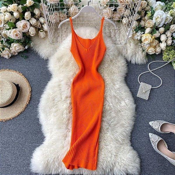 Vestido Tubinho Liso Canelado - 7 cores