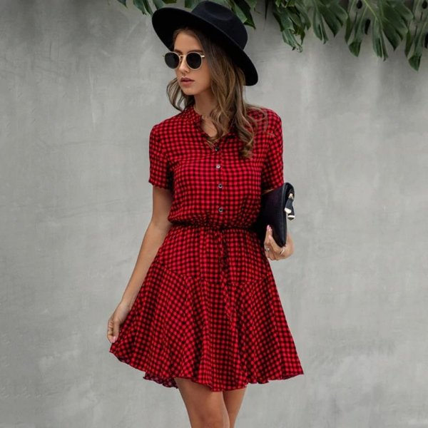 Vestido Xadrez Fluido - 2 cores