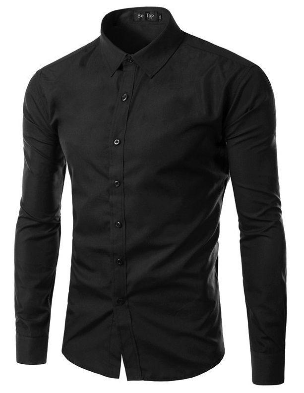 Camisa Masculina Slim Fit Cor Sólida - Preta